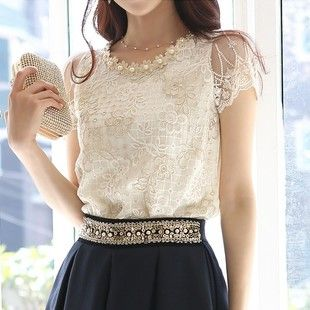 2013 lace embroidery beading shirt slim all-match women's short-sleeve lace shirt 739 Free Shipping $17.49