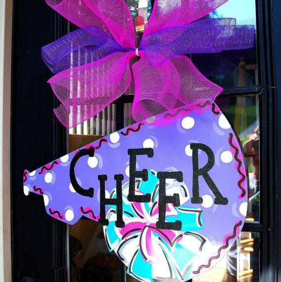 Door Hanger: Cheerleader Decoration, Personalized, Megaphone, Cheerleading Gift on Etsy, $30.00