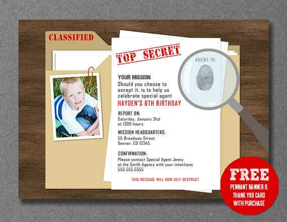 Secret Agent Spy Detective Birthday Invitation Printable