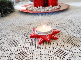 Tea-light holder candle base polymer clay art by artSistaFotini