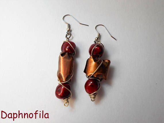 Red copper earrings Handmade earrings Copper jewelry Copper