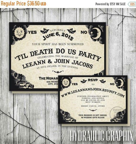 20% OFF SALE Ouija Board Invitation for Wedding Reception, Halloween Wedding Invite, Til Death Do Us Part, Gothic Invitation, Halloween Part