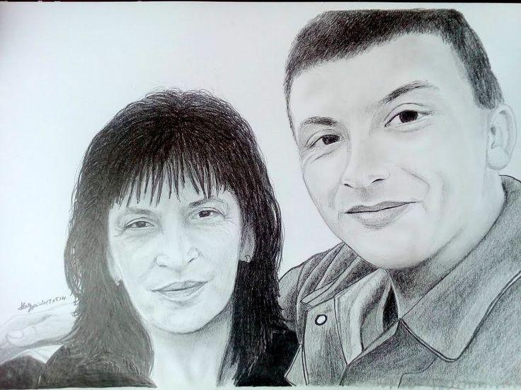 Mother and sun pencil portrait