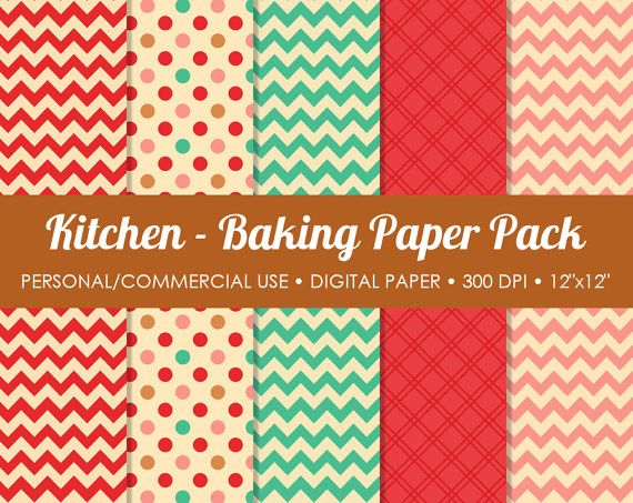 Kitchen - Baking Digital Printable Paper Pack - For Commercial or Personal Use