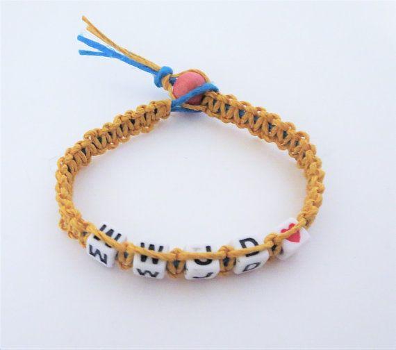 Macrame WWJD Blue and Yellow Hemp Bracelet by TiStephani on Etsy