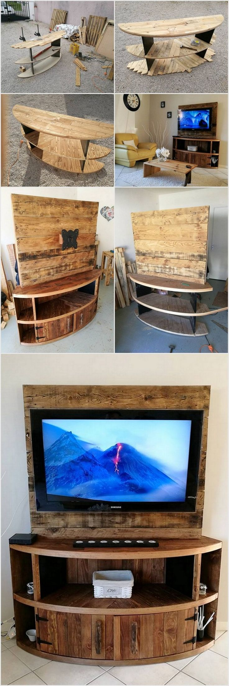 DIY Wood Pallet Entertainment Center - TV Stand