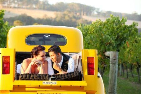 Wedding Photography, Rickety Gate Winery Denmark WA, vineyard, yellow truck, couple lying down