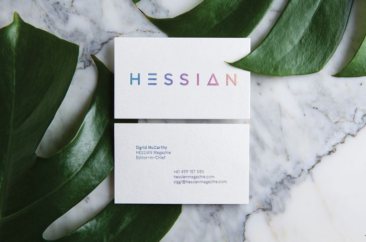 Brand identity refresh for emerging sustainable fashion magazine, Hessian.The typographic logo is a custom designed font for Hessian Magazine.Holographic silver foil pressed on 100% recycled 560gsm cotton stock.–Printed by Stitch Press – http://www.st…