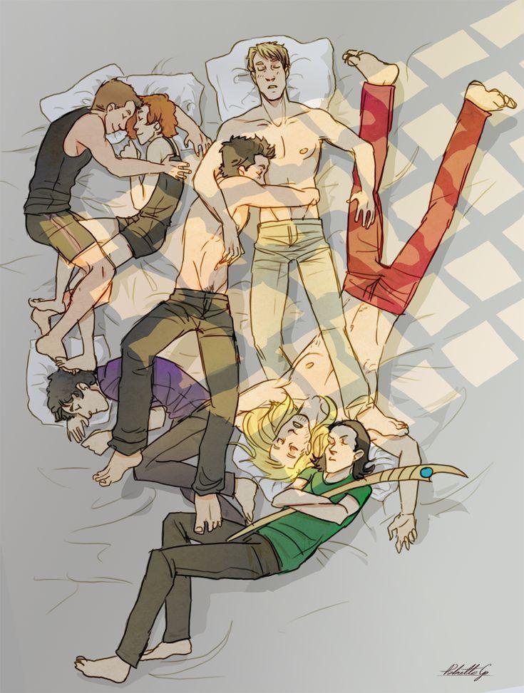 Avengers (+ Loki) Group Naptime.