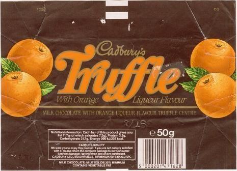 Cadbury's Truffle bar wrapper from the 1980s