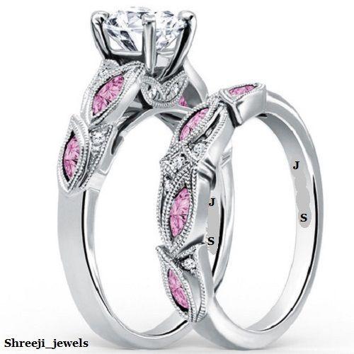 Vintage Deco Leaf 1.92ct Diamond Pink Sapphire 925 Silver Wedding Ring Set #Shreeji_jewels