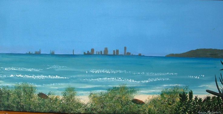 Brisbane Skyline from the Oyster Flats on Moreton Island - a canvas by Evelyn McCorkell