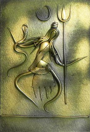 Shiva+(New+Tribal+Art)+-+Wall+Hanging+(Poly+Resin+on+Hardboard)