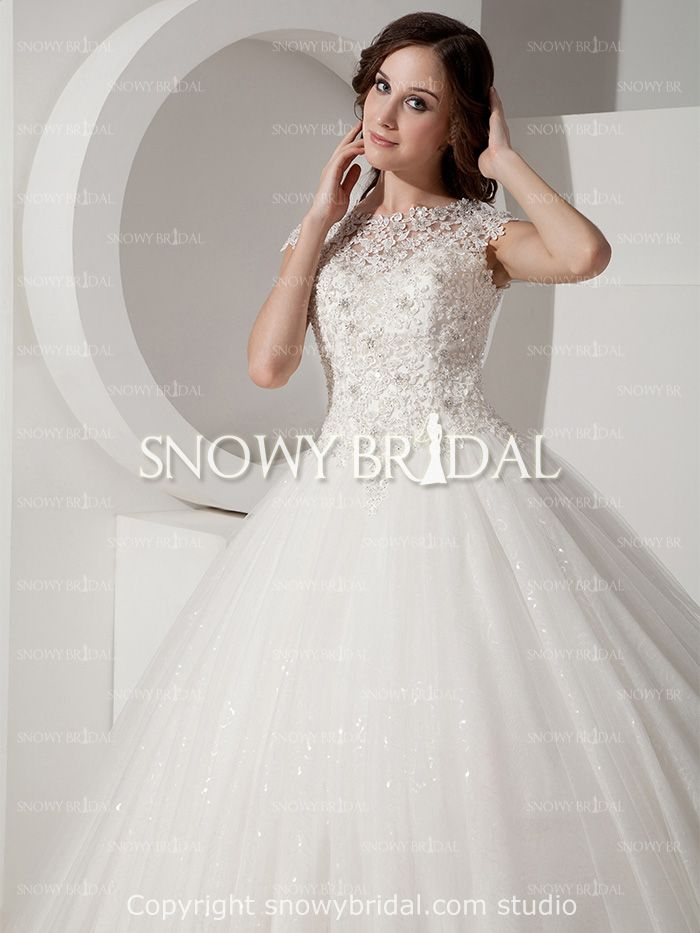 Traditional Princess Long Lace Tulle Cap Sleeve Corset Wedding Dress-US$197.99- StyleW0507-Snowy Bridal