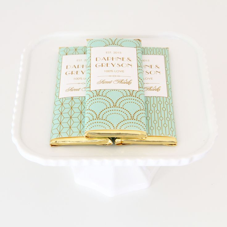 Art Deco Personalized Candy Bar Wrappers from Sweet Paper Shop | Geometric, Scallop and Chain Patterns in Mint & Gold | Choose your words and colors | Overwraps a Hershey's 1.55 oz Chocolate | Printed on shimmer paper. Foils included.