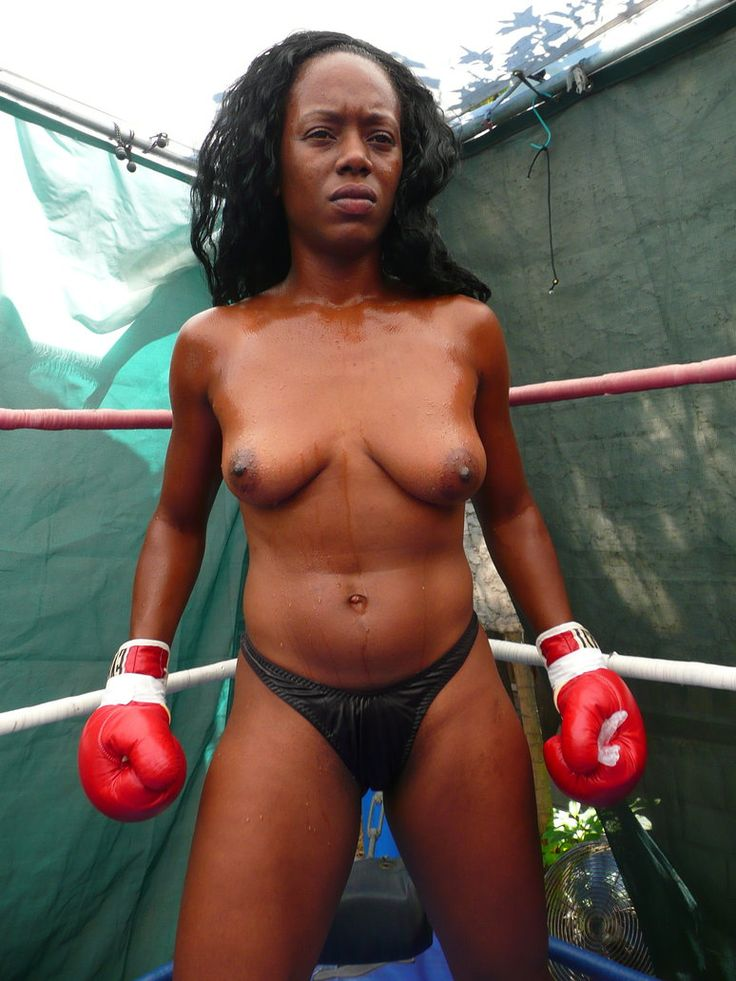 Magnificent naked female boxing