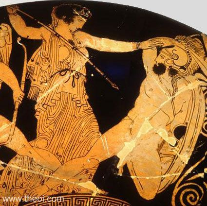 Hera battling the giant Phoetus | Greek vase, Athenian red figure kylix Fighting in the war against the Titans
