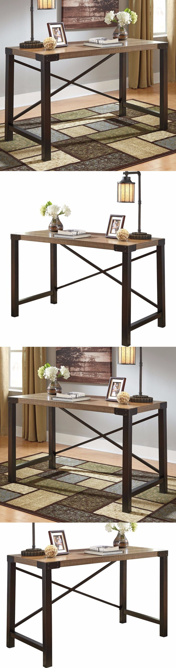 Office Furniture: Industrial Computer Desk Rustic Writing Wood Metal Office Furniture Workstation -> BUY IT NOW ONLY: $174.99 on eBay!