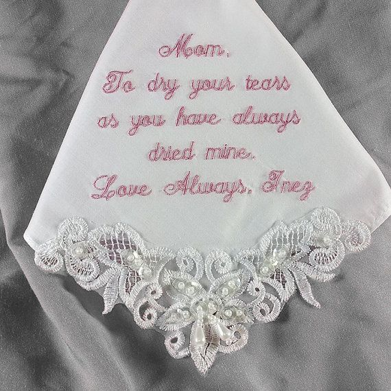 Mother of the Bride Wedding Handkerchief by CoutureWeddingHankie, $29.00: Mother Of The Bride, Great Idea, Dream, Bride Gifts, Handkerchiefs Mothers, Weddings Handkerchiefs, Mothers Of Grooms, Party Gifts, Wedding Gifts