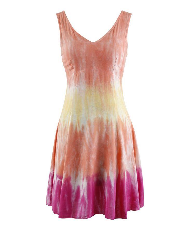 Peppermint Bay Pink & Orange Tie-Dye Sleeveless Dress - Women | zulily