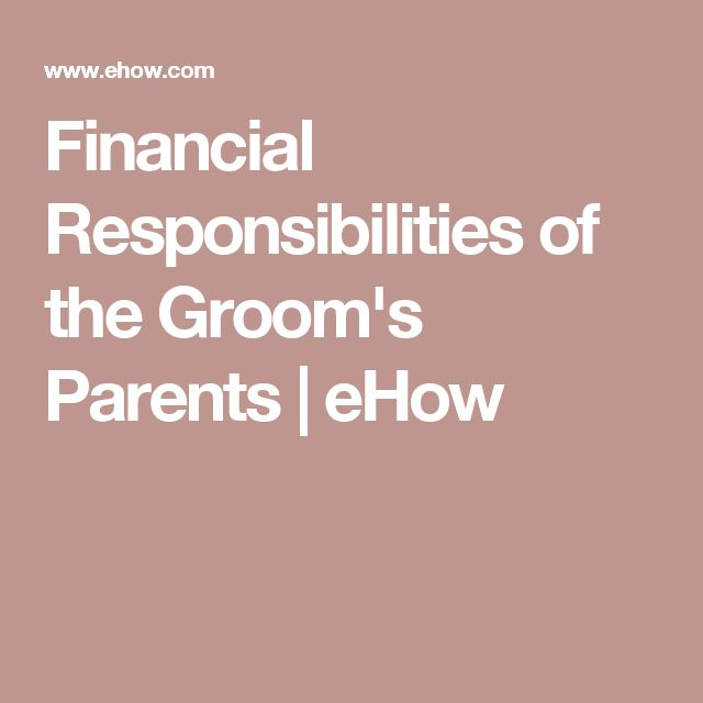 Financial Responsibilities of the Groom's Parents | eHow