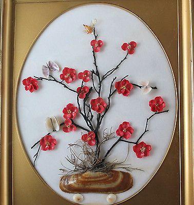 Vintage Oriental Asian Floral Tree & Butterfly Framed Shell Art Vickie Davis