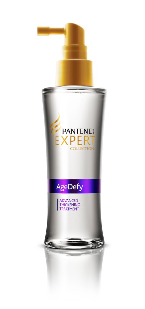 The 14 Best Drugstore Hair-Thickening Products: GIVE YOUR STRANDS A SHOT OF CAFFEINE: A potent mix of caffeine, niacinamide, and panthenol targets the  reduction of hair thinning and damage.  Pantene Age Defy Advanced Thickening Treatment, $20; Walmart.