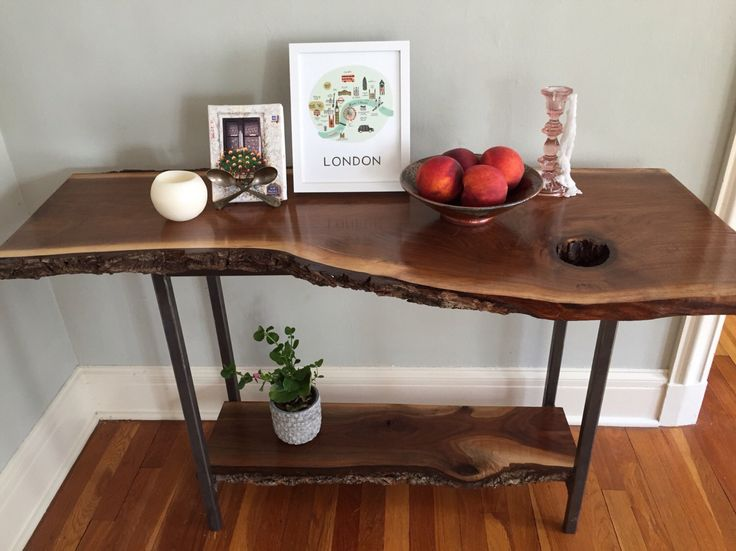Live Edge Sofa Table Entryway Table Console Table Mid Century Modern Rustic Industrial Black Walnut Wood Slab by StocktonHeritage on Etsy https://www.etsy.com/listing/471543891/live-edge-sofa-table-entryway-table