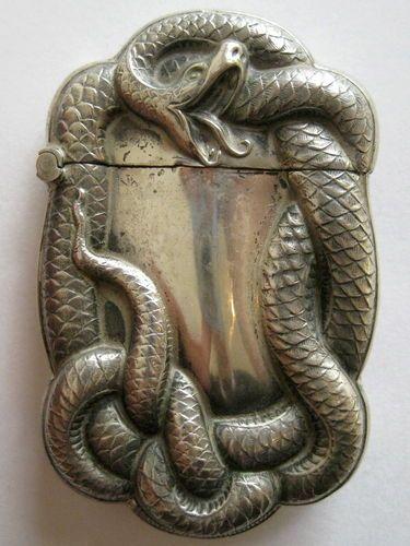 Antique Art Nouveau Sterling Silver Figural Snake Serpent Match Safe Vesta Case
