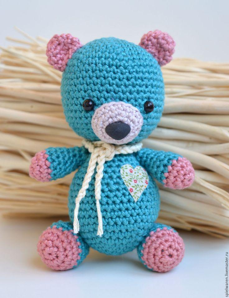 Купить Вязаный медвежонок - морская волна, petrol, вязаный мишка, мишка вязаный