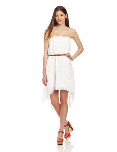 Strapless dress  Belted  Hi-low dress
