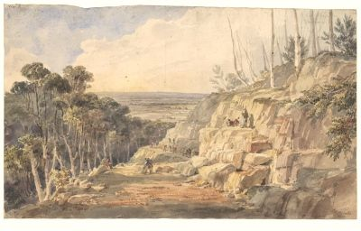 Convicts building road over the Blue Mountains, N.S.W. 1833. Charles Rodius…
