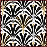 Reprodução de um clássico, papel de parede de Digitas do art deco, teste padrão do fã - enegreça no tecido branco, embellished com ouro