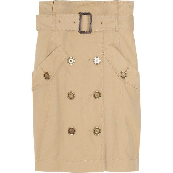 Burberry Brit Trench coat-inspired cotton mini skirt ($180) ❤ liked on Polyvore featuring skirts, mini skirts, burberry, short mini skirts, burberry skirt, shirred skirts and mini skirt