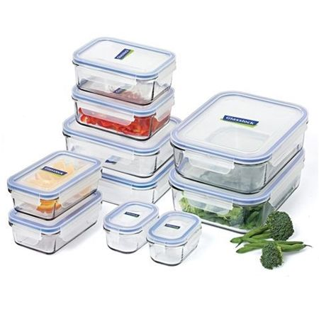Glasslock+10-Piece+Tempered+Glass+Food+Container+Set