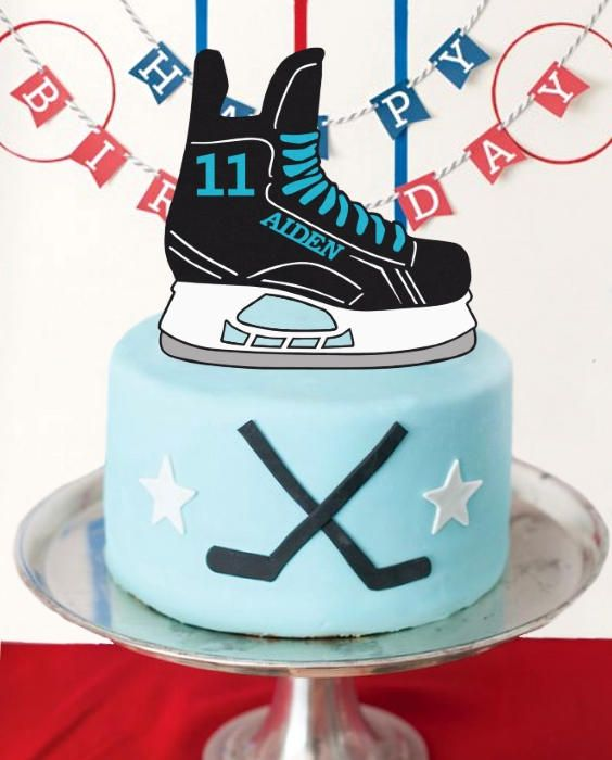 """Handmade by FlyingOwlStudio on Etsy - This Hockey Skate Cake Topper is perfect for any Sports themed party! Personalize it with your choice of Name & Number, making it extra special! Shown here in a few example colours, there are 40+ colours to choose from. Measuring 7"""" wide, it's just the right size for an 8"""" cake. If you require a different size, no problem, just ask!"""
