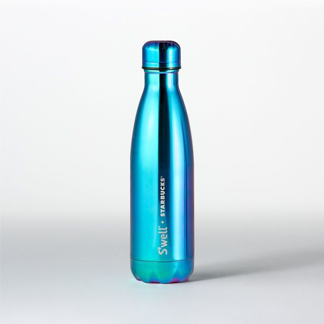 A stainless steel S'well<sup>®</sup> water bottle with gradient blue and purple colors and a high-shine finish.