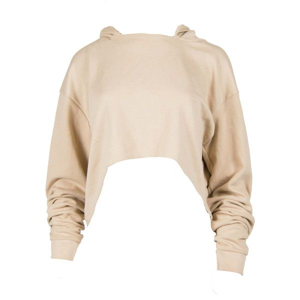 Nude Cropped Hoody ($43) ❤ liked on Polyvore featuring tops, hoodies, pink top, crepe top, pink hoodies, cropped hoodie and jersey top