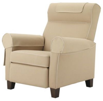 The Ektorp Muren recliner from Ikea is upholstered in fabric and comes in two colors: idemo blue and idemo beige. Pictured here in beige