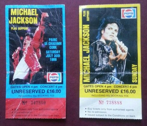 Tickets to Michael Jackson in Pairc UK Chaoimh, 1988. I was there!