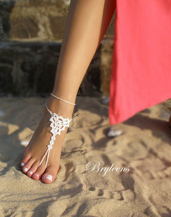 Wedding White Crochet Barefoot SandalsFoot by Bryleens on Etsy