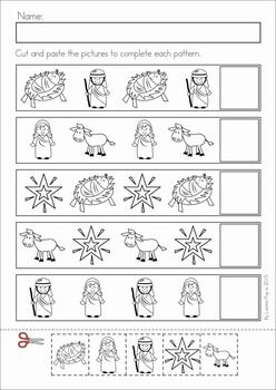 Christmas Nativity Preschool Math and Literacy No Prep worksheets and activities. A page from the unit: cut and paste patterns