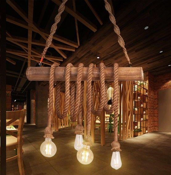 Vintage hanglamp met hout en touw 60 of 80cm breed 4 of 6 lampenhouders