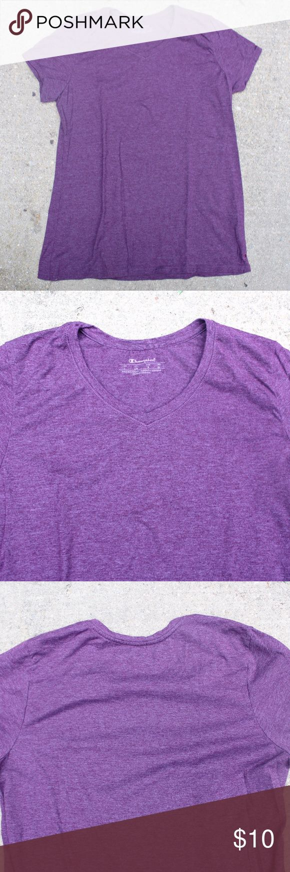 Dark Purple Women's Champion Vapor® Cotton Tee Dark purple v-neck cotton t-shirt. Worn a few times. -Champion Vapor with X-Temp™ technology dries faster as your body heat rises. -Wicks sweat away from skin for cooler, drier comfort. -Beyond soft ringspun cotton-blend feels great against skin. -Set-in V-neck and feminine fit looks good in the gym or hiking a trail. -C logo at hem. -Body 60% cotton/40% Polyester; oxford: 90% cotton/10% polyester Champion Tops