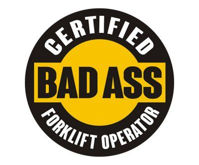 Forklift operator certified bad ass hard hat sticker decal