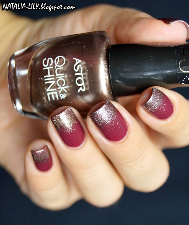 natalia-lily: Beauty Blog: GRADIENT: ASTOR QUICK&SHINE nr 502 + WIBO 1 COAT MANICURE NR 14 | Przygaszone bordo z ciekawą błyskotką
