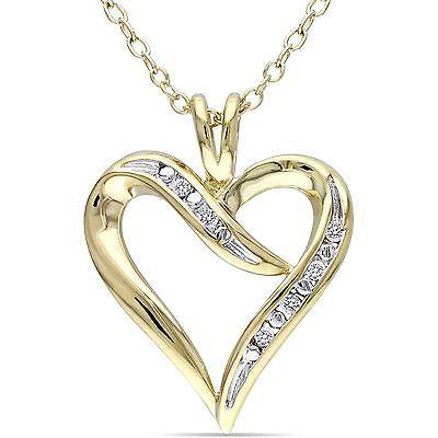 Sterling Silver Pendant Necklace Woman Fashion Heart Love Yellow Rhodium Diamond