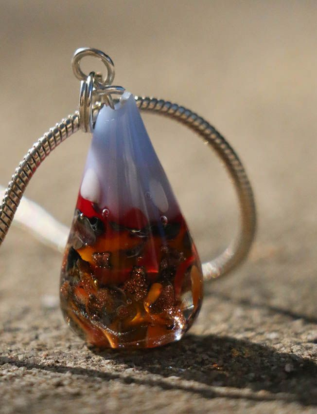 Lampwork Landscape Pendant by Jennifer O'Hara Inspired by Running Waters, Central Australia