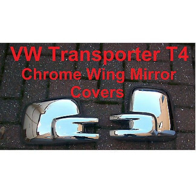 VW TRANSPORTER T4 CHROME WING MIRROR COVERS CAPS CASING