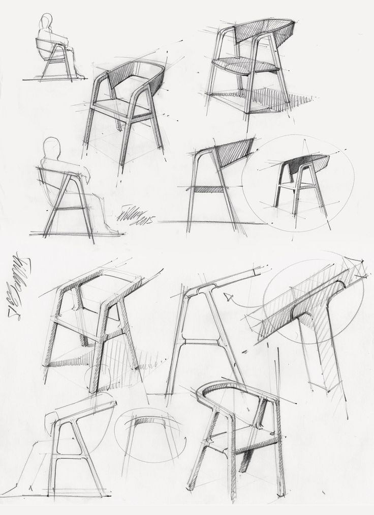 Thomas Feichtner's minimal A-Chair is made using traditional carpentry technique. (Concept sketch)